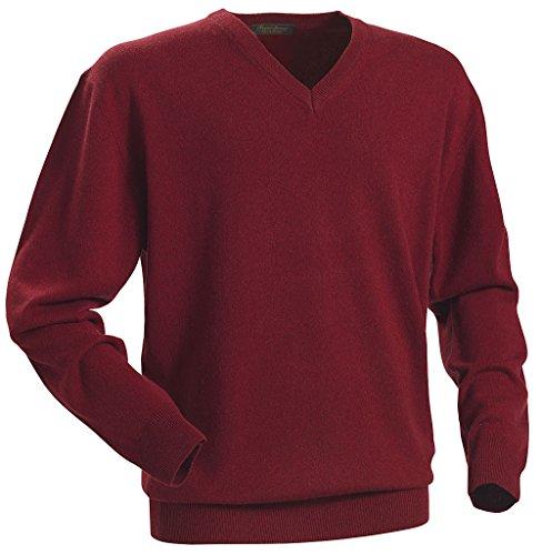 Royal Spencer Herren-Pullover mit V-Ausschnitt aus Kaschmir-Seide, Kaschmirpullover Bordeaux-Rot, toller Winterpullover, angenehm zu tragen (Gr: M - XXL)