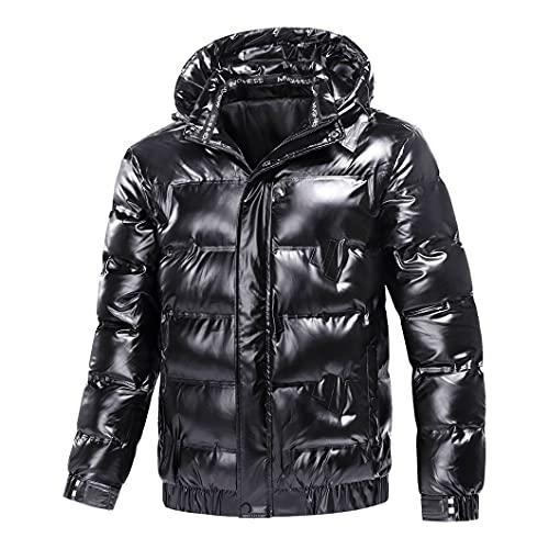 Invierno Cotton-Acolchado Parka Hombres Tela Brillante Abrigos con Capucha Grueso Cálido Warmbreaker Black XXXL