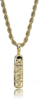 14K Gold and Silver Plated Xanax Pill Bar Pendant Necklace for Men with 24¡±Rope Chain