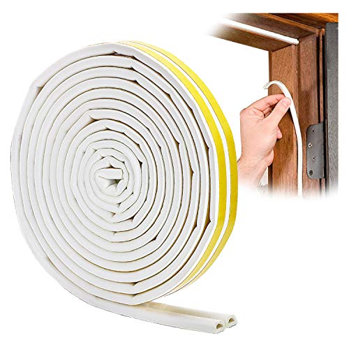 YOUSHARES Door Weather Stripping - Self Adhesive Foam Seal Strip Weatherstripping for Doors Frame and Windows Gaps, Weatherstrip Anti-Collision D Type Door Seal Strip 20 Feet (White)