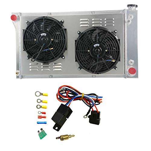 OzCoolingParts 3 Row Core Aluminum Radiator + 2 x 12  Fan w Louver Shroud + Thermostat Relay Wire Kit for 1967-1972 68 69 70 71 Chevy C10 C20 K10 K20 K30 Pickup Trucks and GMC More Models