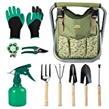 Good GAIN Garden Tools Stool, 12 pcs Gardening Hand Tools Set with Folding Chair Seat and Garden Storage Tote Bag, Garden Tools Carrier, Digging, Gardening Gifts Set for Mom/Dad and Gardeners. Green