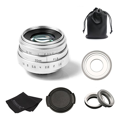 New Silver 35mm F1.6 CCTV C-Mount Lens + C-NEX Lens Adapter Kit for Sony A6000/A5100/a7