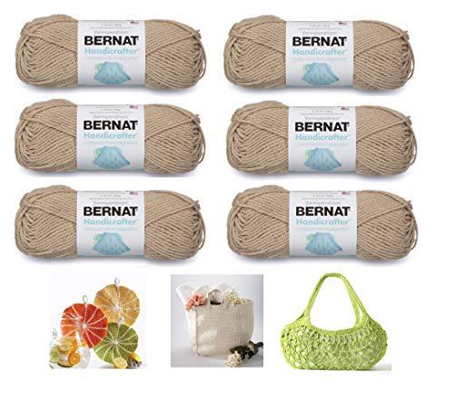 Bernat Handicrafter Cotton Solids Yarn, 1.75 oz, Gauge 4 Medium, 100% Cotton, 6-Pack Jute with 3 Color Patterns