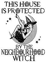 隣人の魔女が家を守るブリキの看板壁の装飾金属のポスターレトロなプラーク警告看板オフィスカフェクラブバーの工芸品