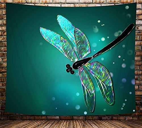 Fantasie-Tier-Wandbehang, Aquarell-Libelle in grünen hellen Punkten, Wandteppich, Kunst für Heimdekorationen, Wohnheim-Dekoration, Wohnzimmer, Schlafzimmer, Tagesdecke, (Multi7, 152,4 x 101,6 cm)