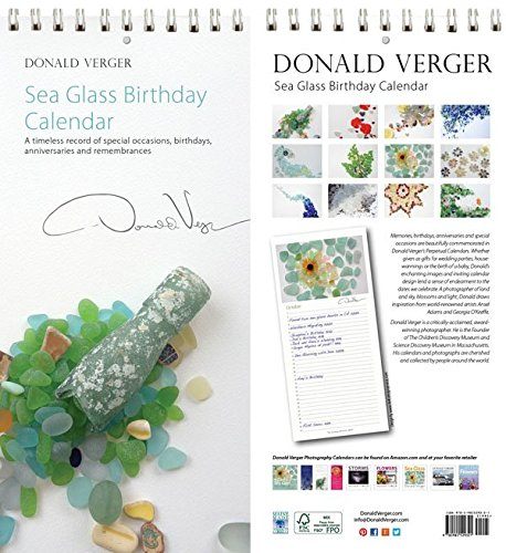 Sea Glass Desk Birthday & Anniversary Perpetual Calendar. 5x11. Unique Nature Gifts. Best Quality Birthday, Christmas, Valentines Day & Mother's Day Gifts for Women & Men & Kids.