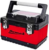Homak 15-Inch Metal and Plastic Hand-Carry Toolbox with Aluminum Handle, Red, RD00115004