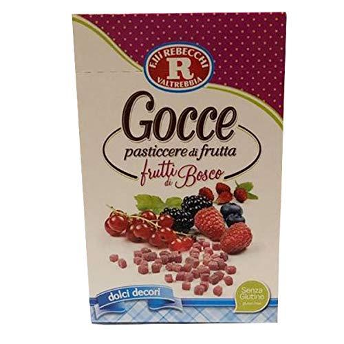 70gr Gocce pasticcerie di frutta al gusto frutti di bosco, dolci decori,senza glutine-Rebecchi