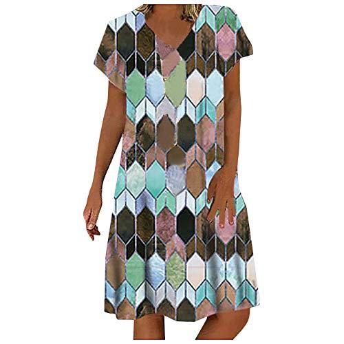 Qigxihkh Mädch Damen Sommer bequem lässig süß vielseitig mehrfarbigMode Damen Lässig Bunt Diamant Print V-Ausschnitt Kurzarm Kurzes Kleid(2-Blau, M)