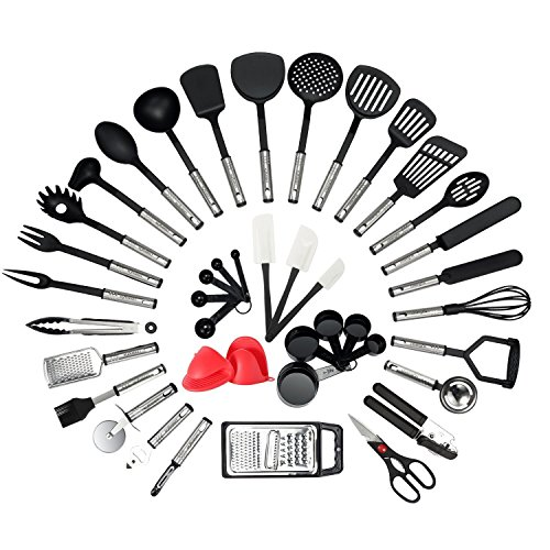 NEXGADGET Utensilios de Cocina 42 Piezas Conjuntos de Cocina de Acero Inoxidable y Nylon Herramientas de Cocina Cuchara, Destapadór, Rallador, Medidor, Cortador para Pizzas, Espátulas, etc.