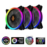 Noua Lips Black 3 Ventole PWM 16 LED Dual Halo RGB Rainbow Addressable 5V 3pin Cooling Fan 120 mm 6-Pin 1200rpm Compatibile ASUS Aura SYNC Gigabyte RGB Fusion MSI Mystic Light SYNC AsRock Polychrome