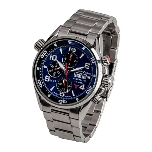 Carl von Zeyten Herren Analog Automatik Uhr mit Edelstahl Armband CVZ0047BLMB