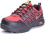 Zapatos de Seguridad para Hombre Zapatillas de Trabajo con Puntera de Acero,Calzado de Industrial y Deportiva,Rojo,42