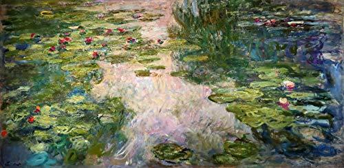 Lírios D'Água (1920) de Claude Monet - 60x121 - Tela Canvas Para Quadro