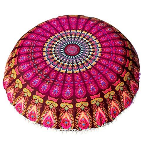 Ogquaton - Funda de almohada redonda con diseño de mandala india, de algodón y poliéster, diseño bohemio