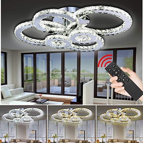 Hengda LED Kristall Deckenlampe Dimmbar mit Fernbedienung 96W Warmweiß/Weiß/KaltWeiß 2700-6500K Dekorative Kronleuchter für Schlafzimmer Wohnzimmer Büro Arbeitszimmer
