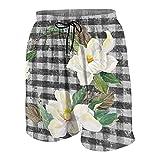 Magnolia - Bañador para hombre, diseño rústico, color negro, blanco, a cuadros, para verano, surf, playa, pantalones cortos de secado rápido con bolsillos, Multicolor, M