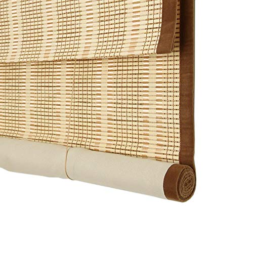 JIAYUAN Bamboo Roller Blinds Roller Blind Bamboo Shade Blackout Lining Curtain Cut Off Cover Light Sun Visor Balcony Customizable Roman Shades (Color : Jade Yellow, Size : W 85H 200cm)
