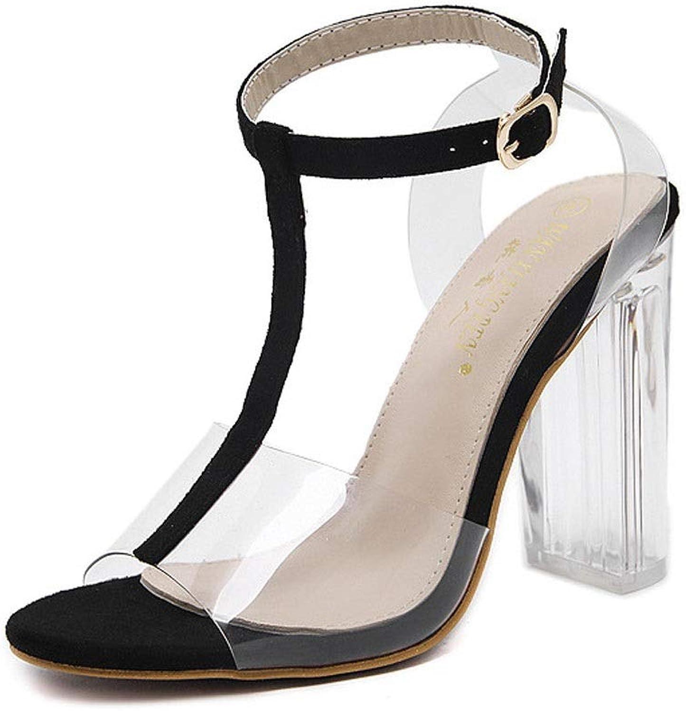 WEATLY Transparenter Damen-High-Heel-Kristall mit klobigen Sandalen mit hohem Absatz (Farbe   Schwarz, Größe   38)