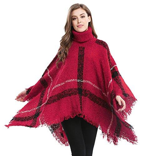 Bellady Women's Batwing Sweaters Tassels Poncho Cape, Asymmetric Hem Plaid, Sweater Dress in Plus Size, Red