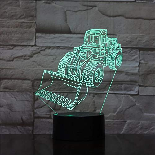 SCNYCUL 3D Night Light Illusion Lamp Excavator machine 16 colors 3-Pattern with Remote Control Best Gifts Toys Boys Girls Birthday Holiday Gift Children