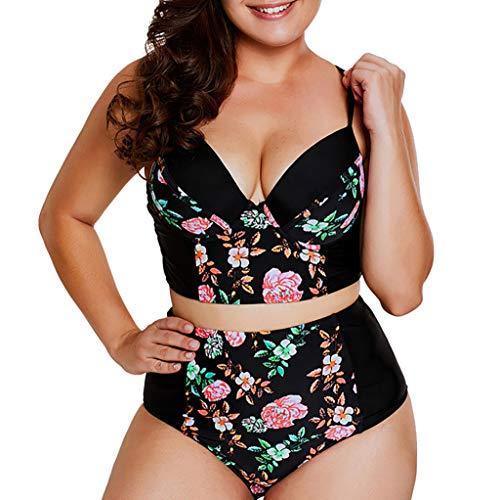 Clacce Bikini Tankini Bademode Badeanzug Monokini Retro Groß Größe Bikini Sets Plus Size Bandeau High Waist Bikini Damen Bauchweg (Schwarz, XXXXXL)