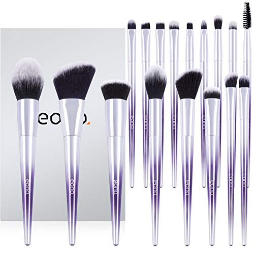 Amazon Brand - Eono Brochas de Maquillaje Set 17 Unids Púrpura Color Profesional Base de Cara Sombra de Ojos Delineador de ojos Resaltador Kits de pinceles de maquillaje