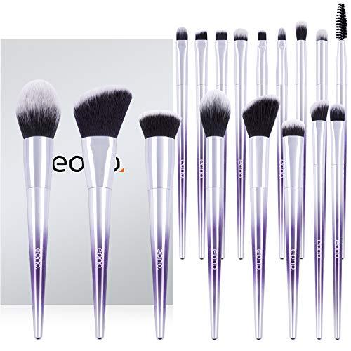 Eono by Amazon - Brochas de Maquillaje Set 17 Unids Púrpura Color Profesional Base de Cara Sombra de Ojos Delineador de ojos Resaltador Kits de pinceles de maquillaje