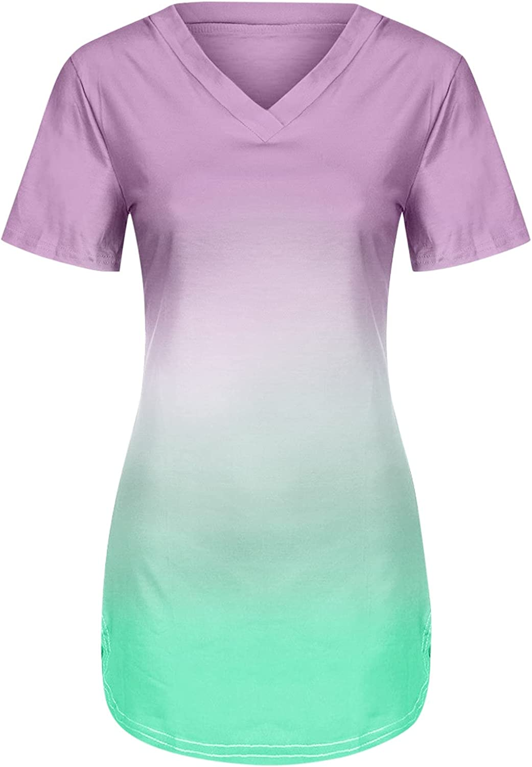 Aukbays Womens Tops V Neck T Shirts Roll Up Short Sleeve Gradient Top Tunic Casual Plus Size Basic Tees Henley Tops