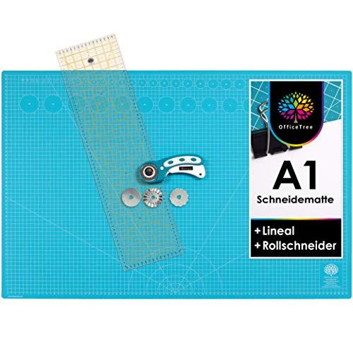 OfficeTree® Set de Estera para Corte - 90x60 cm (A1) Azul + Cortador rotatorio + Regla 60 x 16 cm Trabajos de Corte Profesionales -