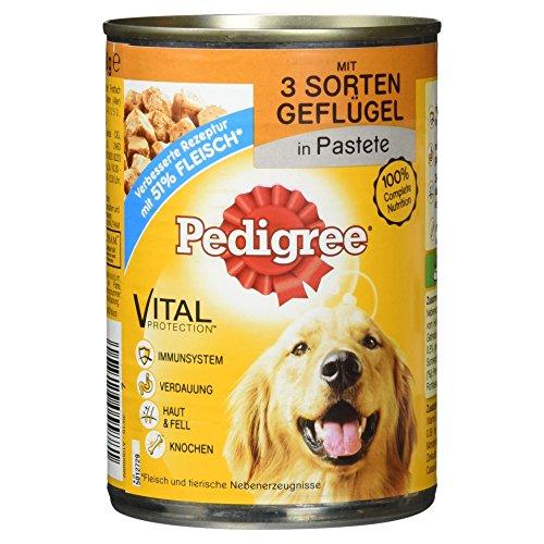 Pedigree Hundefutter 3 Sorten Geflügel in Pastete, 400 g