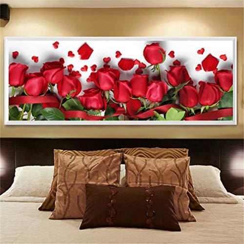 Deike Mild - Kit per pittura con diamanti 5D con strass, motivo floreale, decorazione da parete fai da te, 150 x 55 cm
