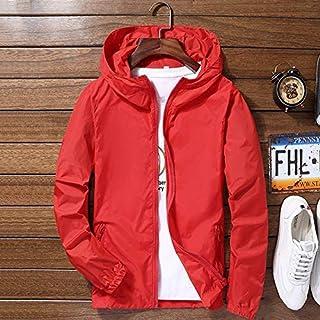 Lanbowo Men Reflective Coat Waterproof Wind Breaker Coat Zipper Hoodie Jacket Quick Drying Sport Outwear