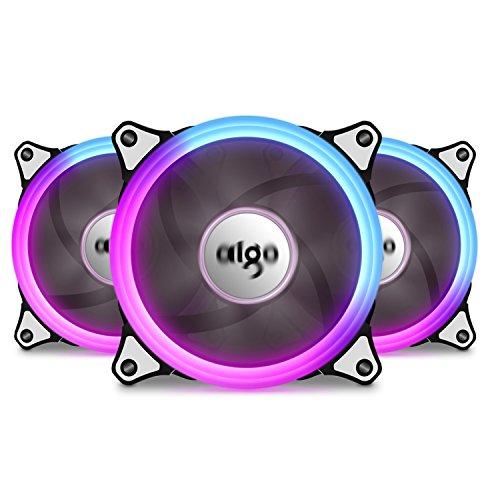 Aigo Caso Ventilador 3Unidades LED RGB 120mm de Alto Flujo de Aire Ajustable Colorful Quiet Edition RGB disipadores de CPU radiador con Controlador C3 Kit