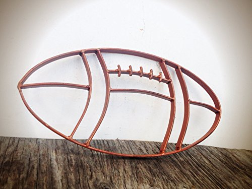 Rustic Cognac Leather Brown Metal Football Wall Art Hanging - Boy's Sports Fan Themed Bedroom Nursery – Man Cave Decor