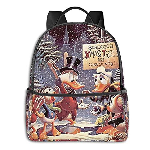 Donald Duck Xmas Trees Backpack Waterproof Rucksack Lightweight For Travel Hiking Work Womens Mens