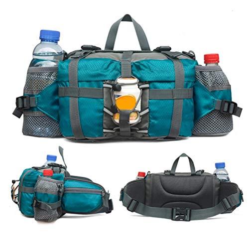 Outdoor heuptas wandelen camping vissen riemtas lumbale wervelkolom met 2 flessenhouders groen