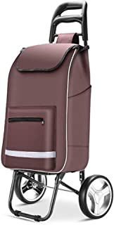 Asdfnfa Shopping Cart Elderly Luggage Trailer Home Portable Folding Bike asdfnfa (Color : Brown)