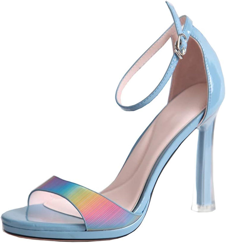 Sandaler, Open Toe Rainbow Gradient Gradient Gradient High klackar Dress Ladies skor (färg  blå, Storlek  35)  Fri leverans och retur