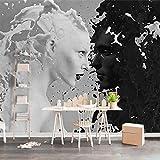 ZLYYH 3D Wallpaper Wandbild,Schwarz Weiße Milch Liebhaber