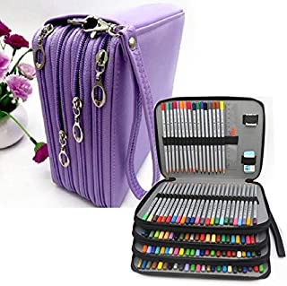 Yiherone PU Leather School Pencil Case 184 Holes Expectant Capacity Negro Pencil Bag Box Multi-Functional Pencilcase Art Supplies Gift(Black) New (Color : Purple)