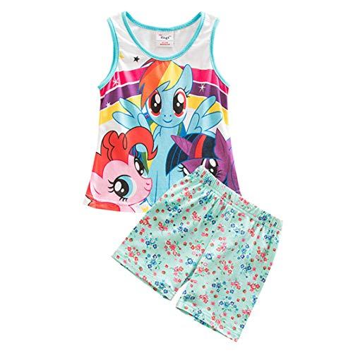 Conjunto Pijamas para Niña Sin Mangas Tops Unicornio y Pantalones Cortos Dos Piezas Ropa de Dormir