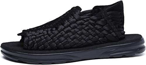 L-X Hommes Sports Plein Air Sandales Randonnée Voyage Léger Confort Chaussures de Plage Léger Confortable Confortable Porter des Sandales Tissées, Noir, 40 UE