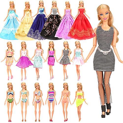 Miunana 16 kledingstukken=10 casual jurken + 3 avondjurken + 3 badpakken voor Barbiepoppen