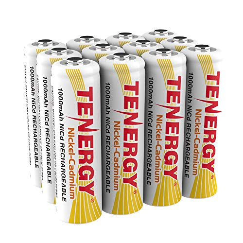 Tenergy AA Rechargeable Battery NiCd 1000mAh 1.2V Battery Pack for Solar Lights, Garden Lights, 12-Pack