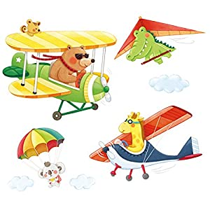 DECOWALL DA-1506C Animal Biplanes with Hang Glider Kids Wall Stickers Wall Decals Peel and Stick Removable Wall Stickers for Kids Nursery Bedroom Living Room décor