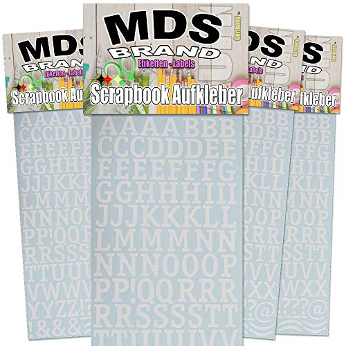 MDS Brand Buchstaben zum beschriften von Kerzen 4er/pk für Taufkerzen, Kommunionkerzen, Hochzeitskerze oder dankeskarten, einfach zum basteln und gestalten 84(Weiss)