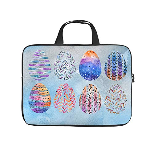 Happy Easter Watercolour Eggs Full Print Laptop Sleeve Protective Case Durable Neoprene Laptop Bag Cover Personalized Notebook Bag Sleeve Case for Business People Office Personnel