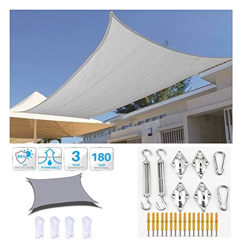 HOXMOMA Sun Shade Sail Rectangle Gray Patio Canopy Cover with Hardware Kits, UV Block Waterproof Awning for Patio, Garden, Yard, Pergola, Backyard,2.5×3m/8'x9.8'